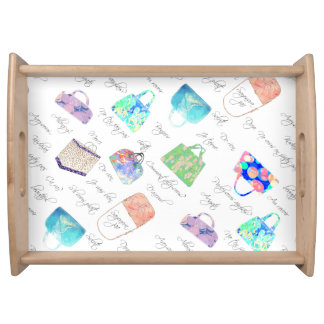 Pastel Floral Watercolor Illustrations Typography Serving Tray