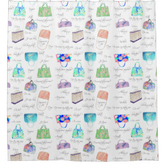 Pastel Floral Watercolor Illustrations Typography Shower Curtain