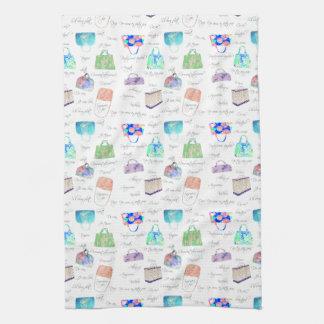 Pastel Floral Watercolor Illustrations Typography Tea Towel