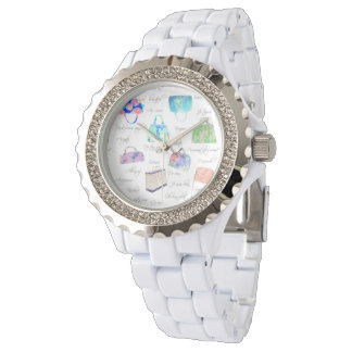 Pastel Floral Watercolor Illustrations Typography Wristwatch