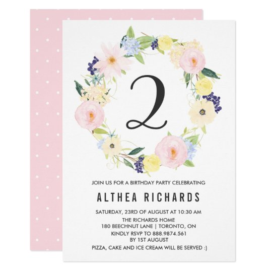 Pastel Floral Wreath Kids Birthday Party Spring Card