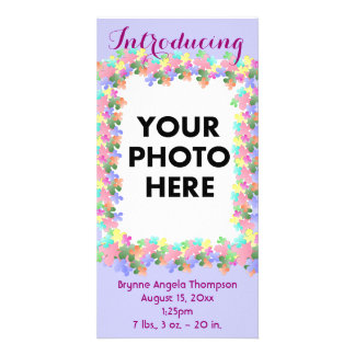Pastel Flower Collage Custom Birth Announcement Photo Cards