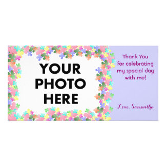 Pastel Flower Collage Custom Customized Photo Card