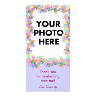 Pastel Flower Collage Custom Photo Greeting Card
