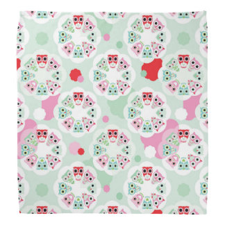 pastel flower owl background pattern bandana