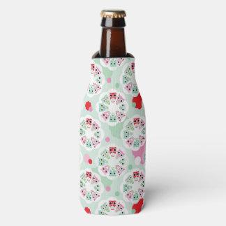 pastel flower owl background pattern bottle cooler