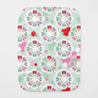 pastel flower owl background pattern burp cloth