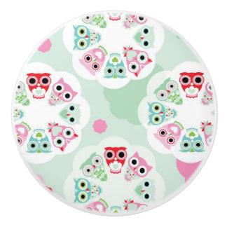 pastel flower owl background pattern ceramic knob