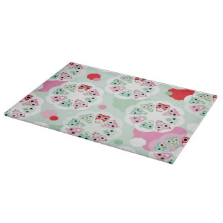 pastel flower owl background pattern cutting board