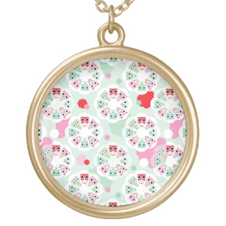 pastel flower owl background pattern gold plated necklace