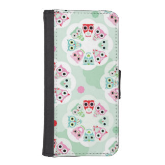 pastel flower owl background pattern iPhone SE/5/5s wallet case