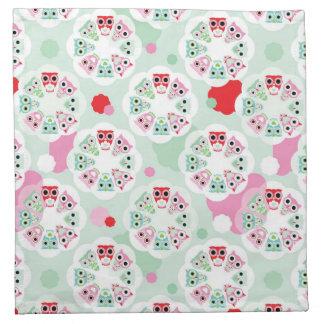 pastel flower owl background pattern napkin
