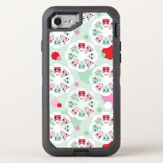pastel flower owl background pattern OtterBox defender iPhone 8/7 case