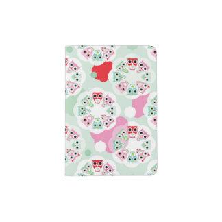 pastel flower owl background pattern passport holder