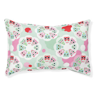pastel flower owl background pattern pet bed