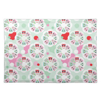 pastel flower owl background pattern placemat