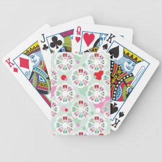 pastel flower owl background pattern poker deck