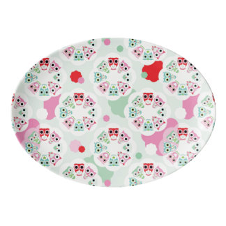 pastel flower owl background pattern porcelain serving platter