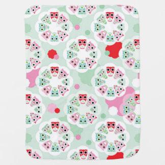 pastel flower owl background pattern pramblankets
