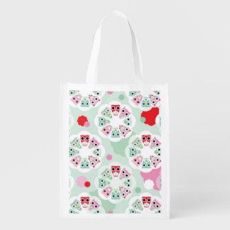 pastel flower owl background pattern reusable grocery bag