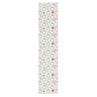 pastel flower owl background pattern short table runner