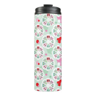 pastel flower owl background pattern thermal tumbler