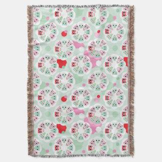 pastel flower owl background pattern throw blanket