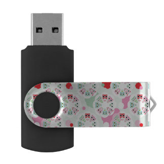 pastel flower owl background pattern USB flash drive