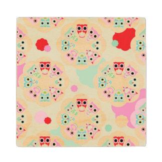 pastel flower owl background pattern wood coaster