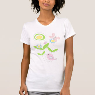 Pastel flowers and birds, beautiful T-shirt