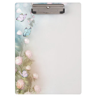 Pastel flowers and butterflies clipboard