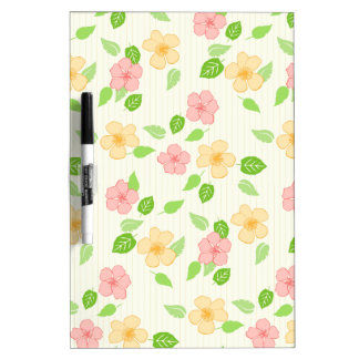 pastel flowers and stripes dry erase board