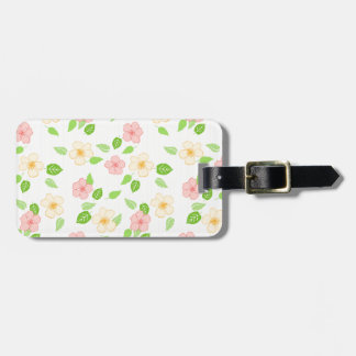 pastel flowers and stripes luggage tag