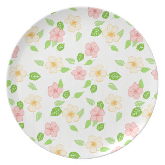 pastel flowers and stripes plate