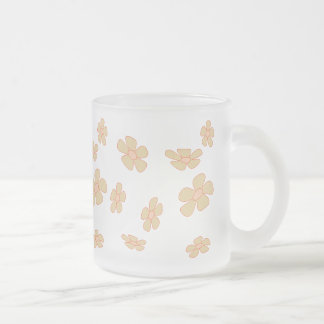 pastel flowers frosted glass mug