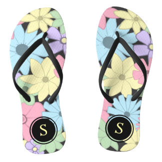 Pastel Flowers With Monogram Flip Flops