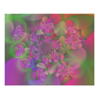 Pastel Fractal Flower Garden Poster