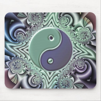 Pastel Fractal Yin Yang Mouse Pad