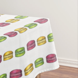 Pastel French Bakery Macaron Cookie Foodie Print Tablecloth