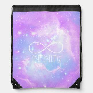 Pastel galaxy infinity loop drawstring bag