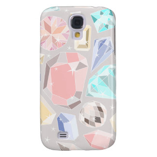 Pastel Gemstone Diamond Pattern PInk Aqua Gems Galaxy S4 Case