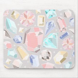 Pastel Gemstone Diamond Pattern PInk Aqua Gems Mouse Pad