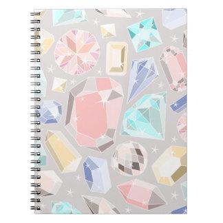 Pastel Gemstone Diamond Pattern PInk Aqua Gems Spiral Notebook