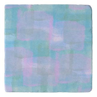Pastel Geometric Lines Abstract Art Stone Trivet