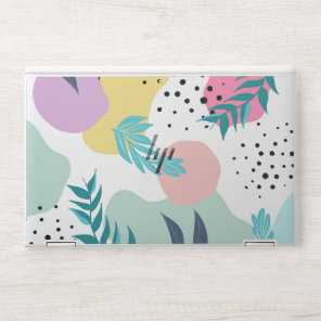 Pastel geometric shapes tropical leaf pattern HP laptop skin