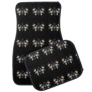 Pastel Geometrical Forms And Dots On Black Car Mat