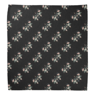 Pastel Geometrical Forms And Dots On Black Head Kerchiefs