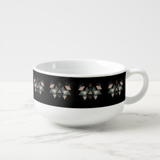 Pastel Geometrical Forms And Dots On Black Soup Mug