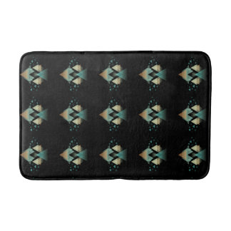 Pastel Geometrical Forms On Black Bath Mats