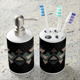 Pastel Geometrical Forms On Black Soap Dispenser And Toothbrush Holder